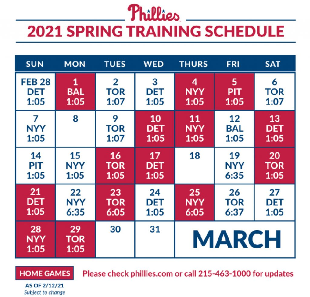 Phillies Spring Training Revised 2021 Schedule RSN