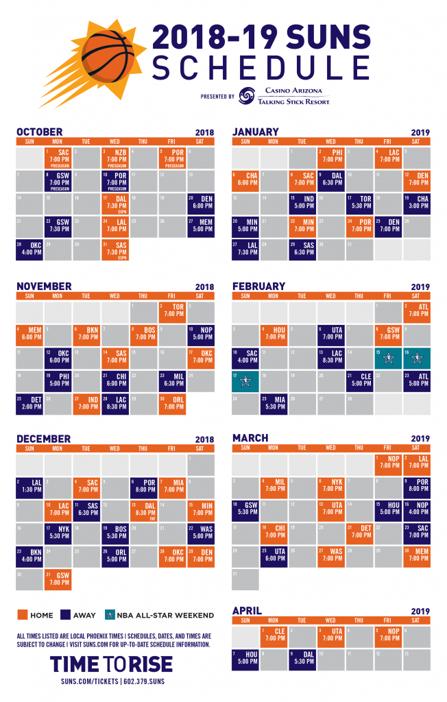 Phoenix Suns Announce 2018 19 NBA Season Schedule