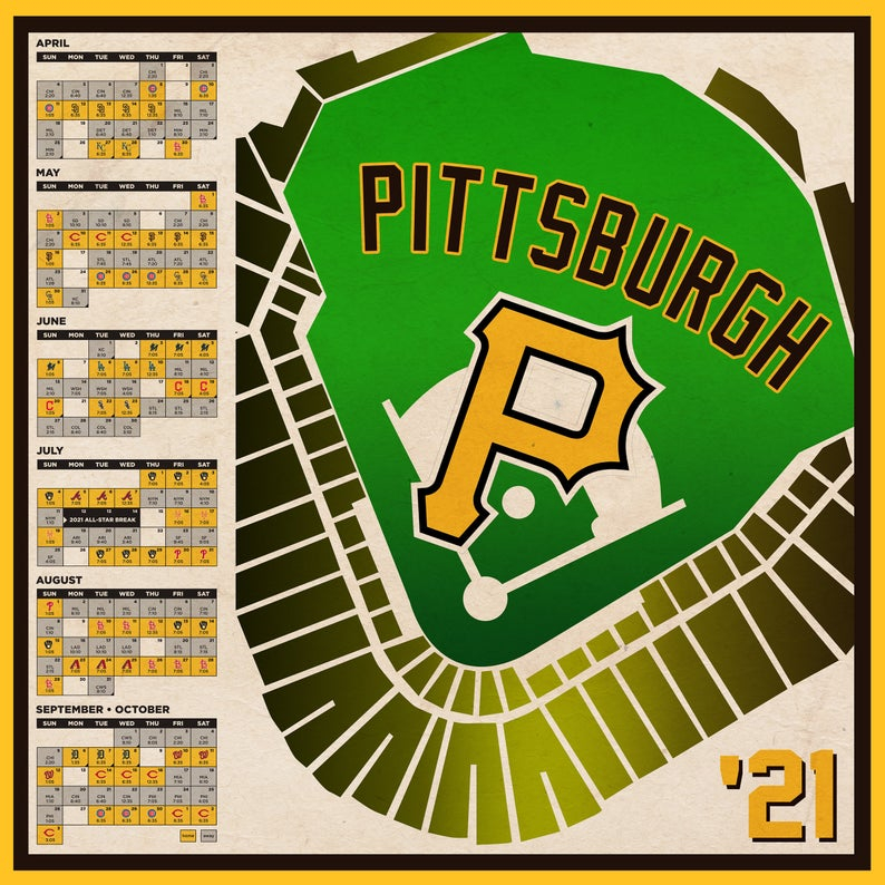 Pittsburgh Pirates 2021 Schedule Print Etsy