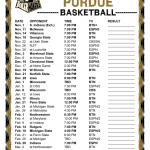 Printable 2016 2017 Purdue Boilermakers Basketball Schedule