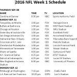 Printable 2016 NFL Week 1 Schedule Nfl Week Nfl Week 1