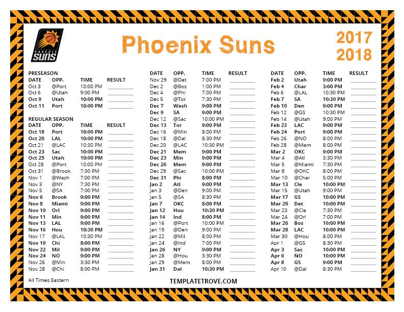 Printable 2017 2018 Phoenix Suns Schedule