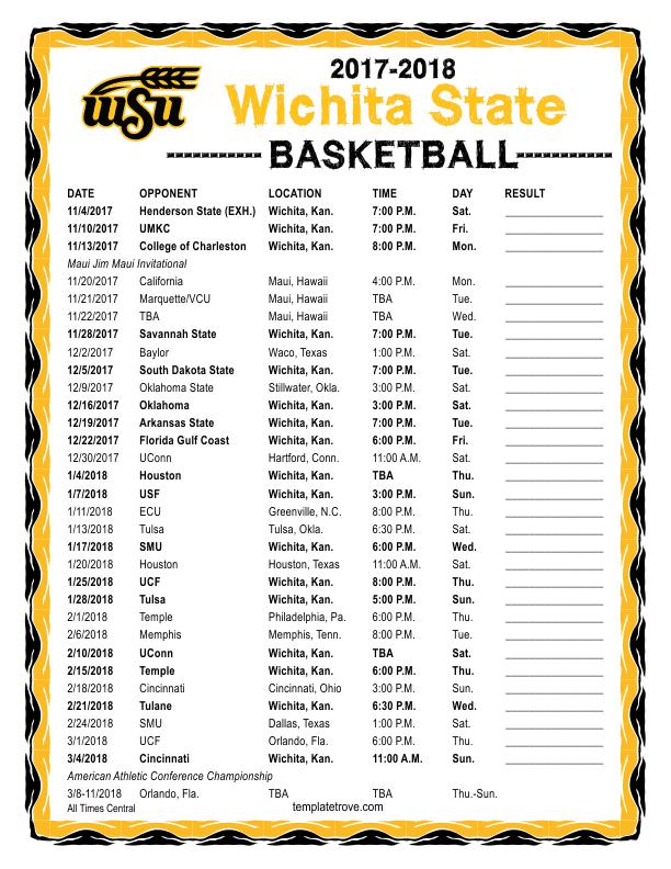 Printable 2017 2018 Wichita State Shockers Basketball Schedule