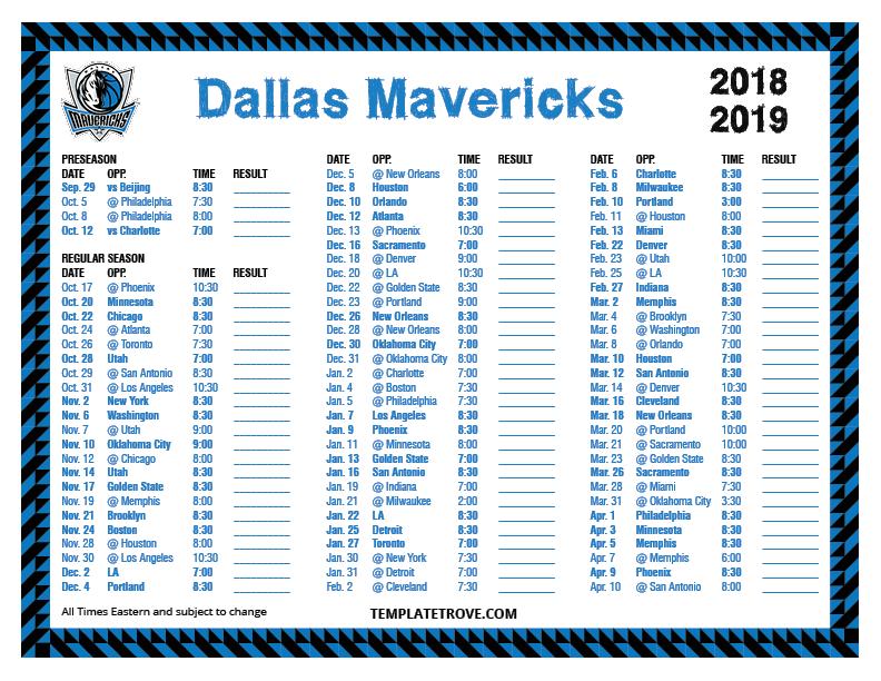 Printable 2018 2019 Dallas Mavericks Schedule
