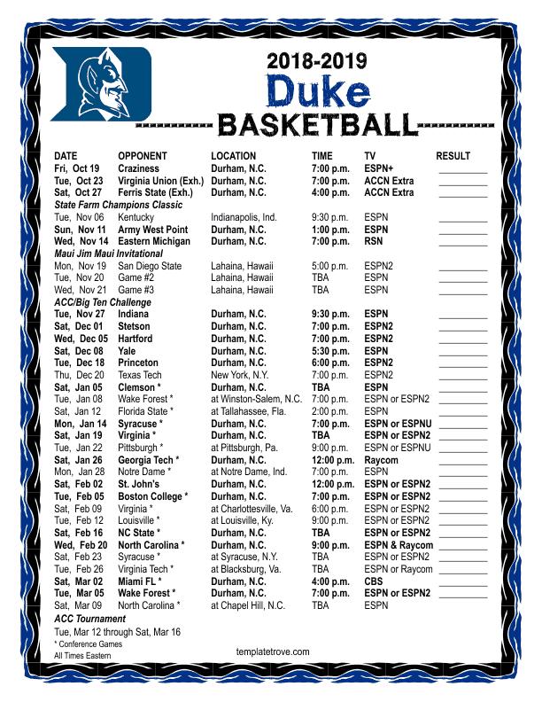 Printable 2018 2019 Duke Blue Devils Basketball Schedule