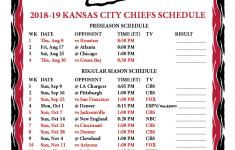 Printable 2018 2019 Kansas City Chiefs Schedule