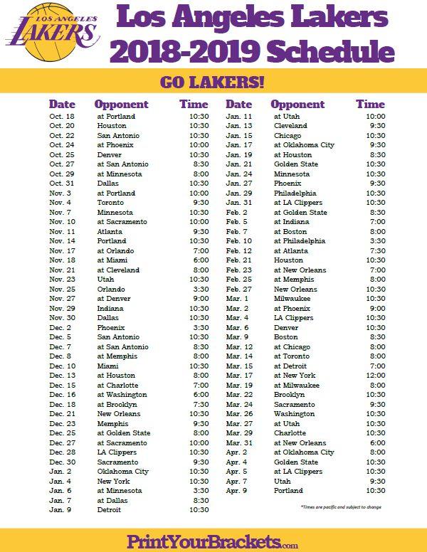 Printable 2018 2019 Los Angeles Lakers Schedule Los