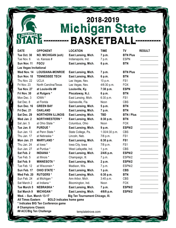 Printable 2018 2019 Michigan State Spartans Basketball