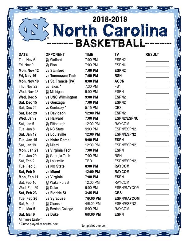Printable 2018 2019 North Carolina Tarheels Basketball