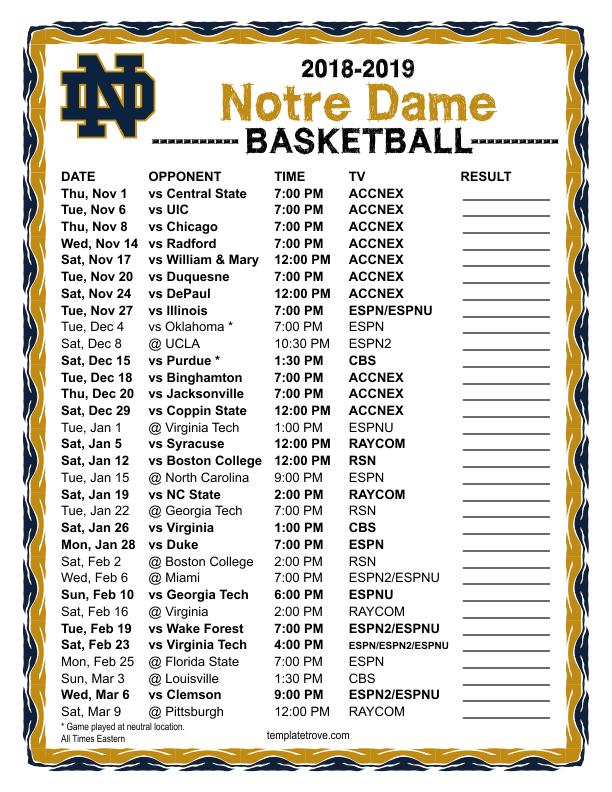 Printable 2018 2019 Notre Dame Fighting Irish Basketball