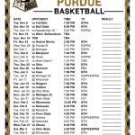Printable 2018 2019 Purdue Boilermakers Basketball Schedule