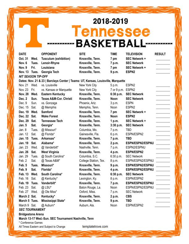 Printable 2018 2019 Tennessee Volunteers Basketball Schedule