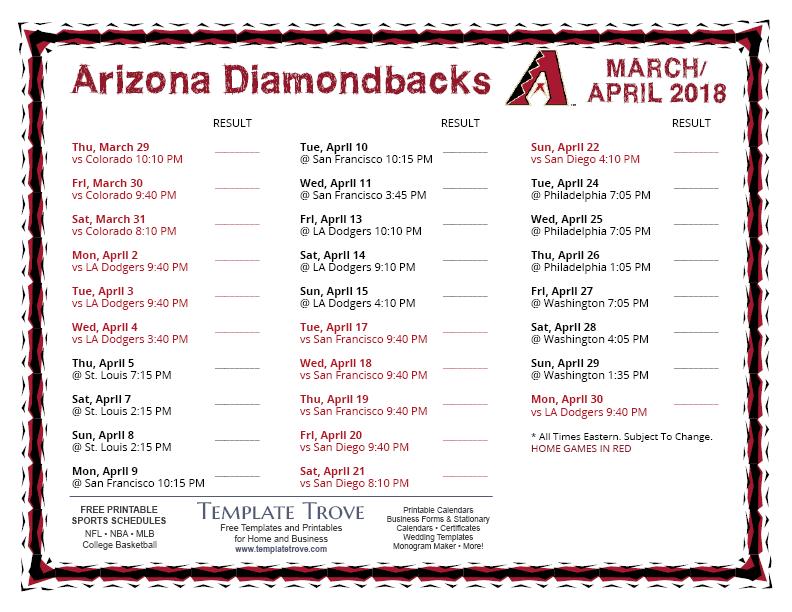 Printable 2018 Arizona Diamondbacks Schedule