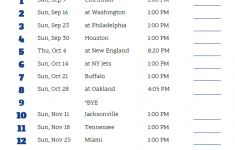 Printable 2018 Indianapolis Colts Football Schedule