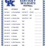 Printable 2018 Kentucky Wildcats Football Schedule