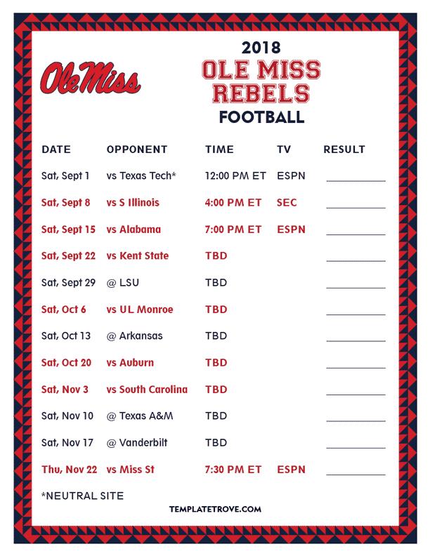 Printable 2018 Ole Miss Rebels Football Schedule
