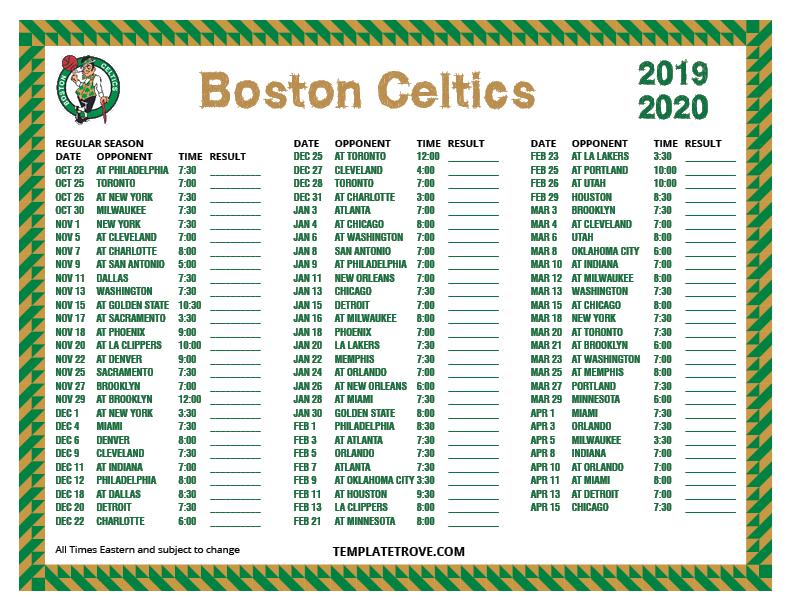 Printable 2019 2020 Boston Celtics Schedule