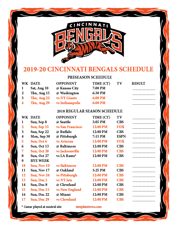 Printable 2019 2020 Cincinnati Bengals Schedule