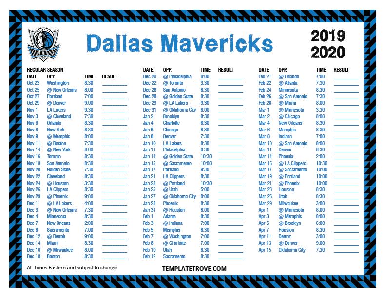 Printable 2019 2020 Dallas Mavericks Schedule