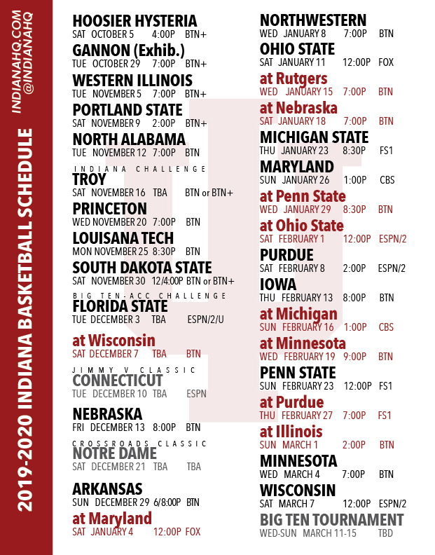 PRINTABLE 2019 2020 Indiana Basketball Schedule IndianaHQ