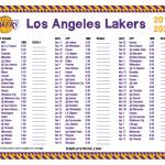 Printable 2019 2020 Los Angeles Lakers Schedule