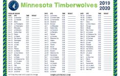 Printable 2019 2020 Minnesota Timberwolves Schedule