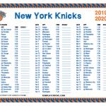 Printable 2019 2020 New York Knicks Schedule