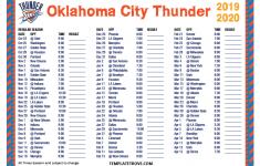 Printable 2019 2020 Oklahoma City Thunder Schedule