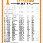 Printable 2019 2020 Tennessee Volunteers Basketball Schedule