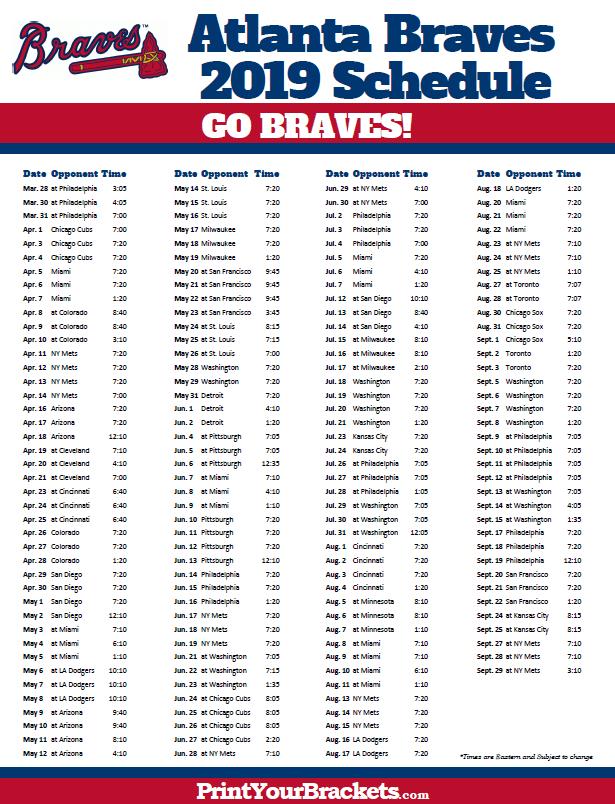 Printable 2019 Atlanta Braves Schedule Atlanta Braves