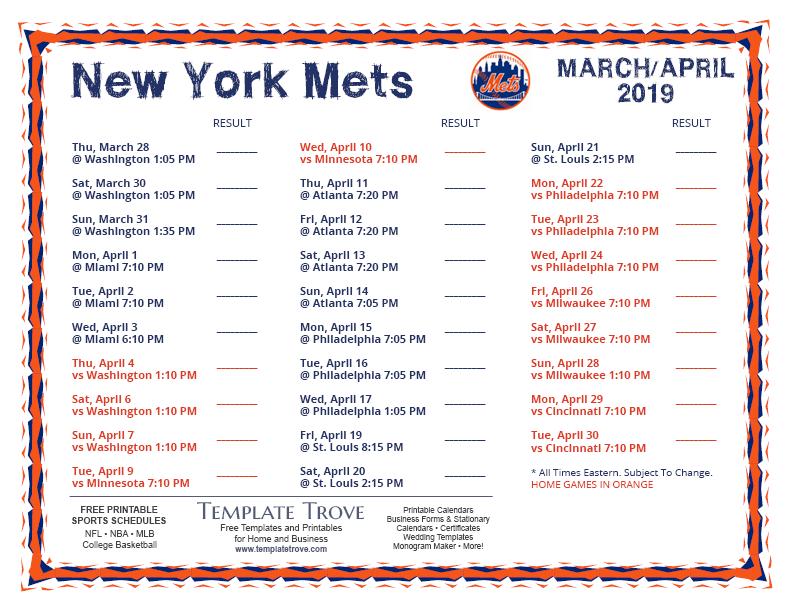 Printable 2019 New York Mets Schedule