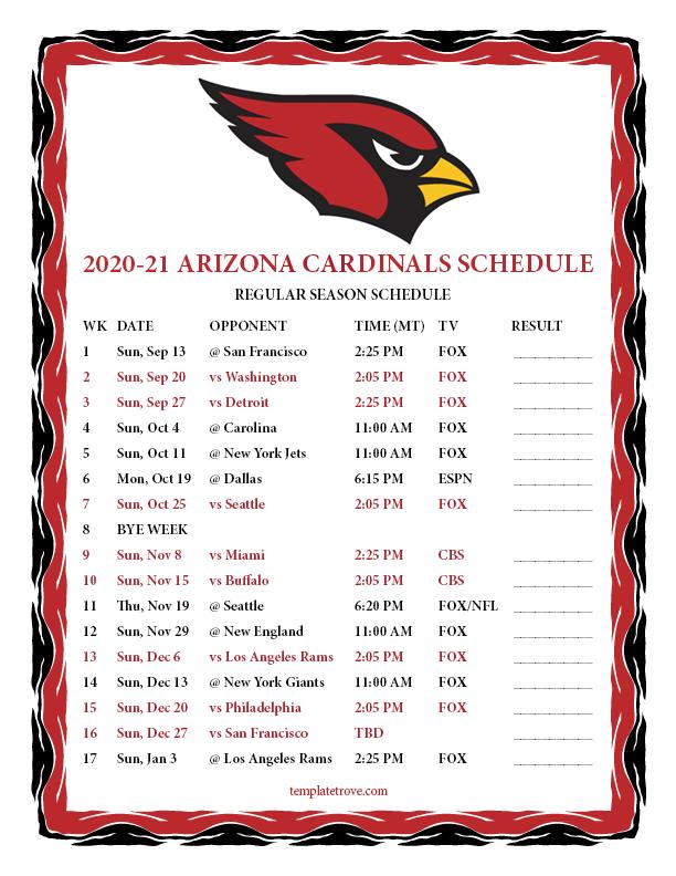 Printable 2020 2021 Arizona Cardinals Schedule
