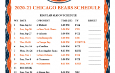2021 Chicago Bears Schedule Printable