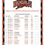 Printable 2020 2021 Cincinnati Bengals Schedule