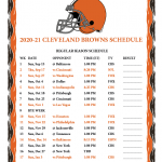 Printable 2020 2021 Cleveland Browns Schedule