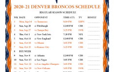 Denver Broncos Printable Schedule 2021