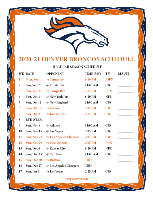 Printable 2020 2021 Denver Broncos Schedule
