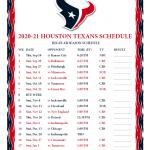Printable 2020 2021 Houston Texans Schedule