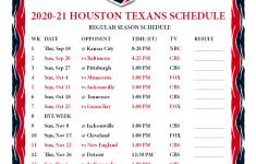 Houston Texans Printable Schedule 2021