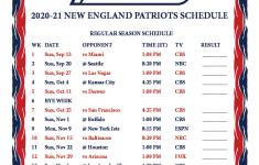 New England Patriots Schedule 2021 Printable Free