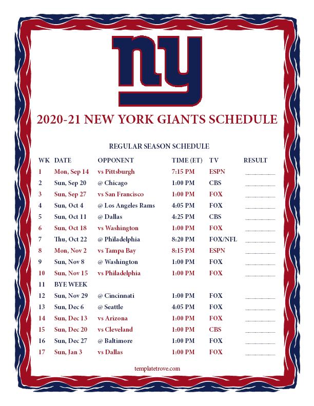 Printable 2020 2021 New York Giants Schedule