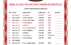 Printable 49ers Schedule 2021