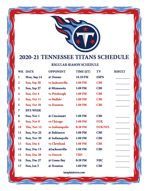 Printable 2020 2021 Tennessee Titans Schedule