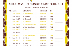 Redskins 2021 Schedule Printable