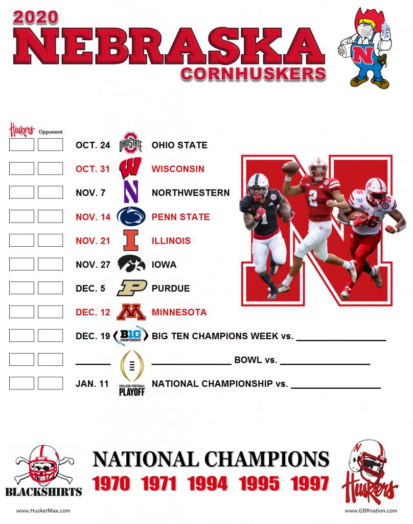 Printable 2020 Nebraska Football Schedule September 21 2020