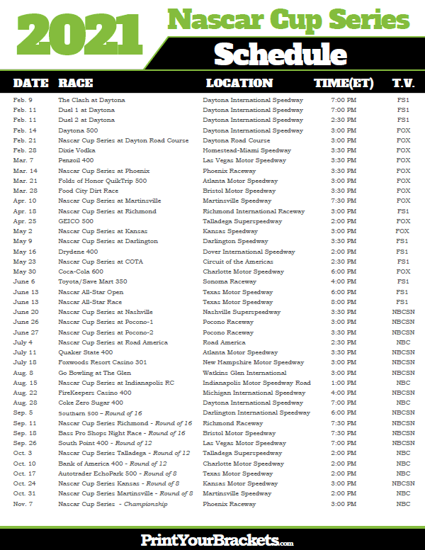 Printable 2021 Nascar Schedule Monster Cup Series Dates