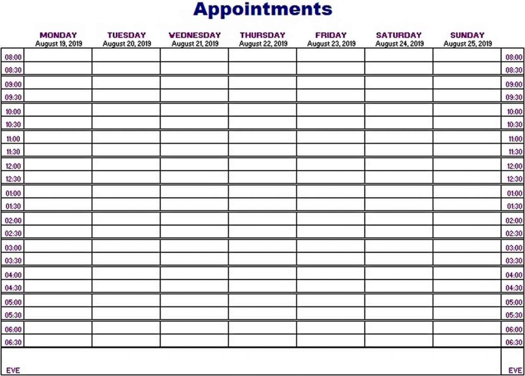 Printable Appointment Schedule Think Moldova
