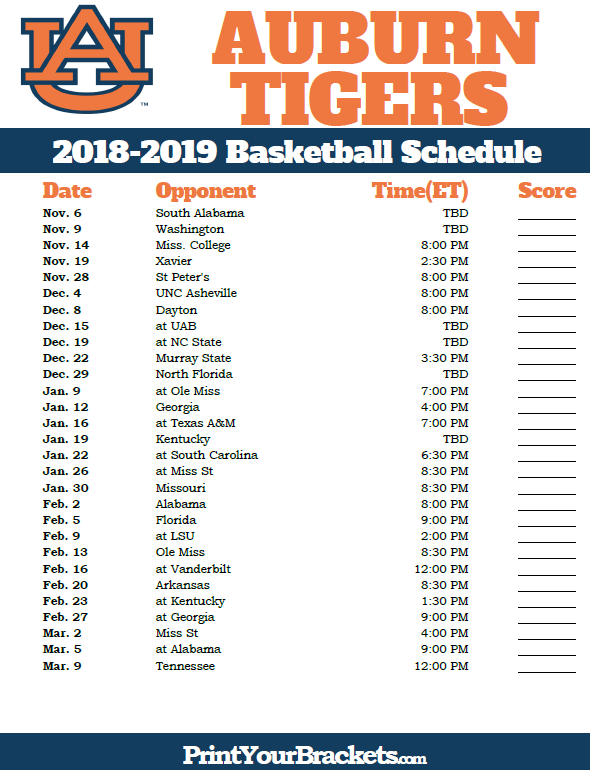 Printable Auburn Tigers Basketball Schedule Basketball