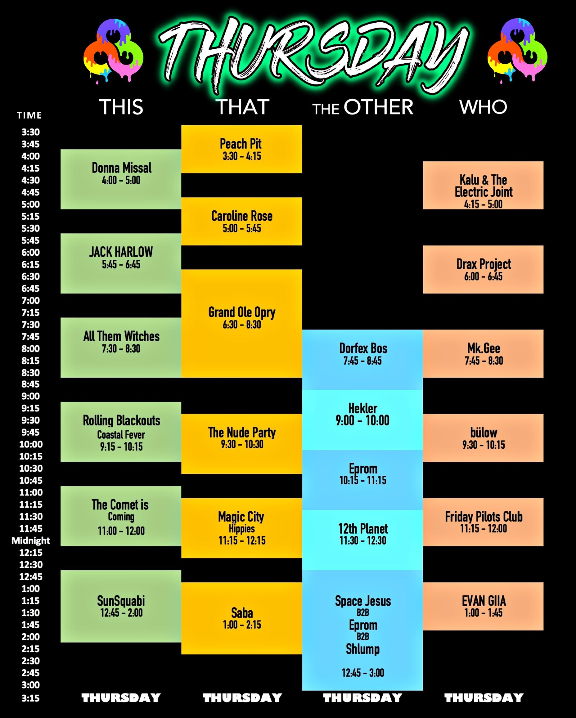 Printable Bonnaroo Schedules For 2019 Ken Booth
