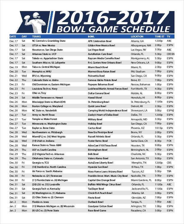 Printable Bowl Schedule Templates 9 Free PDF Format